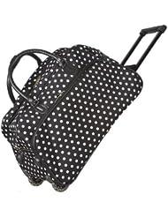 Black White Polka Dots Rolling Wheeled Duffle Bag 21-inch