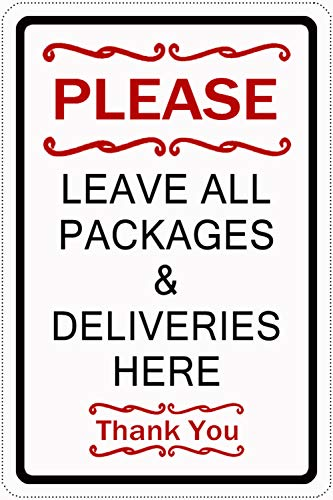 Joeaney Tin Sign New Metal Sign Please Leave All Packages and Deliveries Here Sign for House, Home or Business 7.8 x 11.8 inches