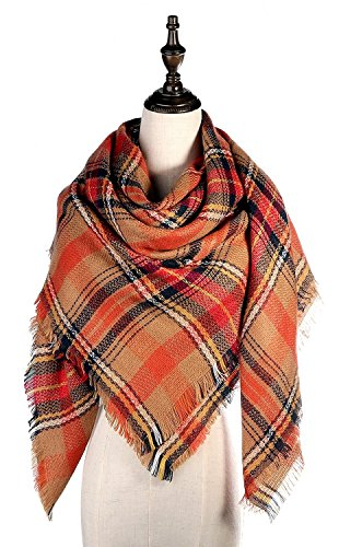 Lamamamas Plaid Blanket Scarf Warm Cozy Tartan Wrap Shawl Winter Scarfs for Women (Orange) by Lamamamas