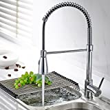 Fapully Kitchen Sink Faucet Single Handle Spring Pull Down Pre-rinse Swivel Spout 2 Function Spot Resist Polished Chrome