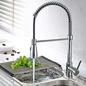 Fapully Kitchen Sink Faucet Single Handle Spring Pull Down Pre-Rinse Swivel Spout 2 Function Spout Resist Polished Chrome