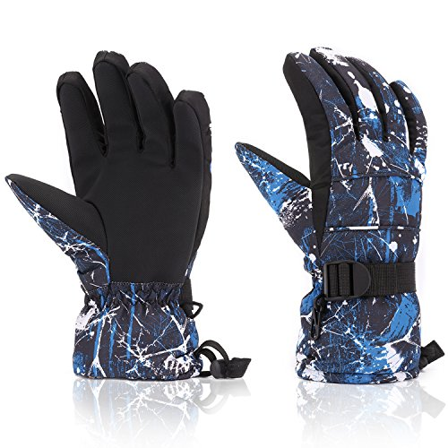 Ski Gloves, Yidomto Waterproof Warmest Winter Snow Gloves for Mens, Womens, Boys, Girls, Kids (Dark Blue-M) Youth Kids Glove