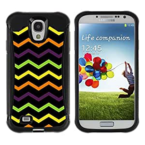 All-Round Hybrid Rubber Case Hard Cover Protective Accessory Compatible with SAMSUNG GALAXY S4 - wavy lines black pattern