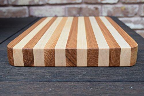 Maple Hickory Wood Edge Grain Personalized Cutting Board Handmade Butcher Block