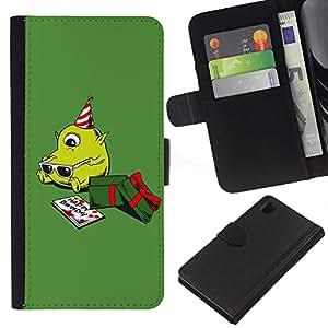 All Phone Most Case / Oferta Especial Cáscara Funda de cuero Monedero Cubierta de proteccion Caso / Wallet Case for Sony Xperia Z1 L39 // Green Christmas Present Cute Birthday