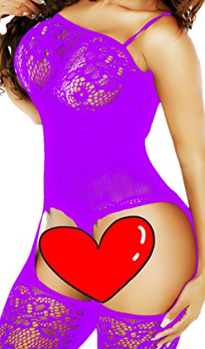 Daisland Women Sexy Lingerie Fishnet Crotchless Bodystocking Bodysuit Hot (Full Leather Teddy)