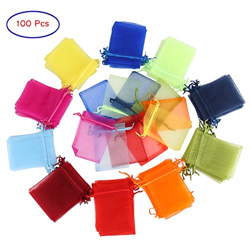 Yarssir 100Pcs Drawstring Organza Gift Bags Jewelry Pouches Mesh Bags Wedding Party Favor Candy Bags(Mixed Color,3.5x4.7inch) (9x12cm, multicolor)