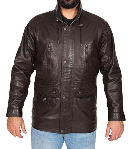 Parka chaqueta de de cuero cuero marr Parka chaqueta chaqueta marr Parka BHrqBAx