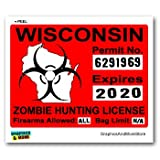 Wisconsin WI Zombie Hunting License Permit Red - Biohazard Response Team - Window Bumper Locker Sticker