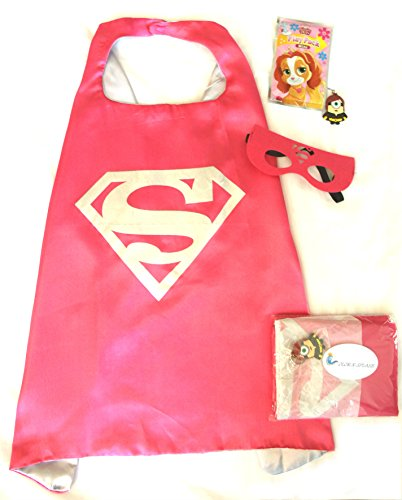 [Superhero Cape and Mask Sets with Bonus Prize for Pretend Play, Dress Up, and Parties (Supergirl)] (A Present Costume)