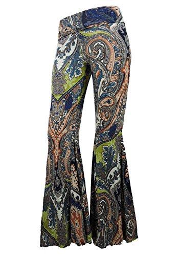 Sugar Rock Women Paisley Palazzo Hippie Pants Fold-Over Waist Bell Bottom Leg Large Green (Hippie Rock)