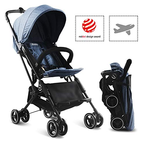 Kidsclub Stroller Airplane Stroller, Lightweight Compact Stroller for Toddler, One Button Foldable Stroller for 0-3 Y, Baby Stroller for Travel, Umbrella Stroller with Storage, No Need Installation