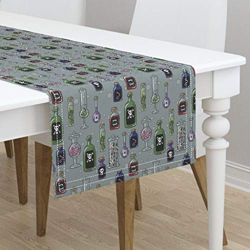 Table Runner - Halloween Fabric Witch Potion Witches Pantry Creepy Fabric Cute Bottles by Amber Morgan - Cotton Sateen Table Runner 16 x 108]()