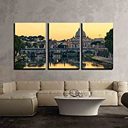 "wall26 - 3 Piece Canvas Wall Art - Evening View at St. Peter'S Cathedral in Rome, Italy - Modern Home Decor Stretched and Framed Ready to Hang - 16""x24""x3 Panels"