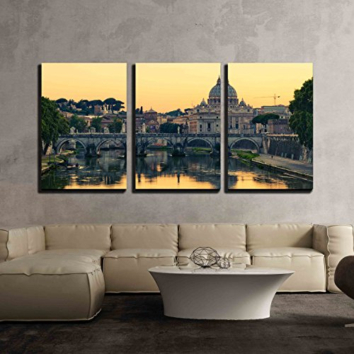 wall26 - 3 Piece Canvas Wall Art - Evening View at St. Peter'S Cathedral in Rome, Italy - Modern Home Decor Stretched and Framed Ready to Hang - 16