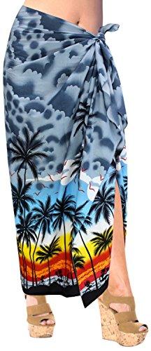 LA LEELA Soft Light Swimwear Wrap Pareo Long Sarong Printed 78''X39'' Grey_3062 by LA LEELA