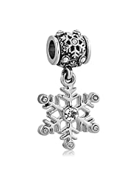 New Snowflake Charm Clear Birthstone Crystal Dangle Bead Sale Cheap Jewelry Fit Pandora charms Bracelet