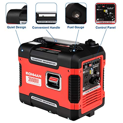 Goplus Inverter Generator Portable Gas-Powered Generator CARB Compliant w Eco-Mode, Convenient Handle, Dual 120V AC Outlet, 12V DC Output Red 2000W