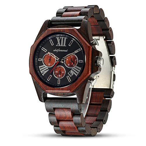 Wooden Watches for Men, shifenmei Mens Wood Watch Multifunction Chronograph 12/24H Stopwatch Calendar Luminous Hands…