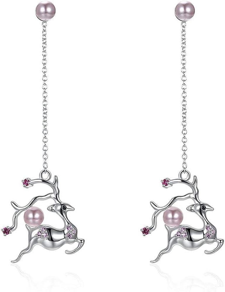 Pendientes colgantes de perlas de ciervo para mujer, diseño de animales, plata pura, accesorios de joyería Bijoux