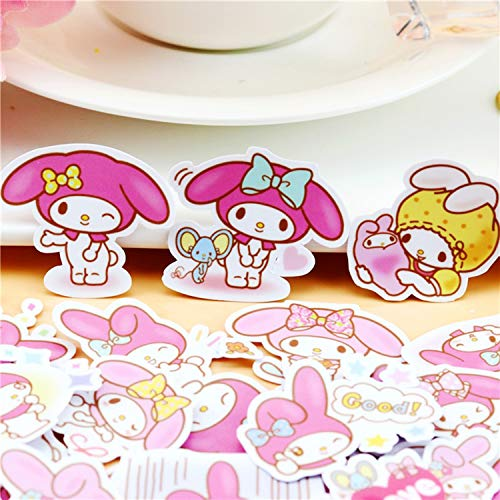 40pcs Creative Cute Kawai My Melody Stickers for Scrapbooking DIY Laptop Luggage Skateboard Photo Notebook Diary Cool ()