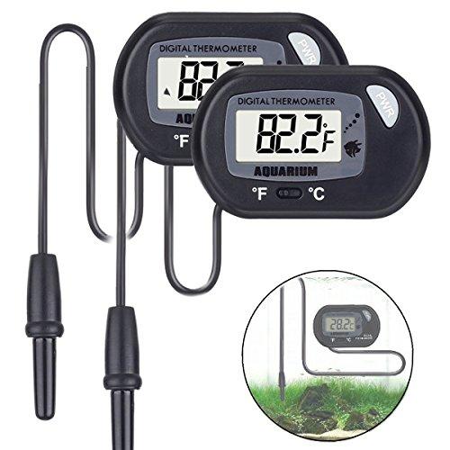 quarium Thermometer for Aquarium Fish Tank Vivarium Reptile Terrarium (2 pack) (Thermometer Thermistor Probe)