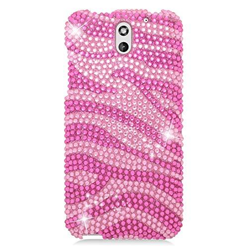 Insten Zebra Rhinestone Diamond Bling Hard Snap-in Case Cover Compatible with HTC Desire 610/612 Verizon, Hot Pink