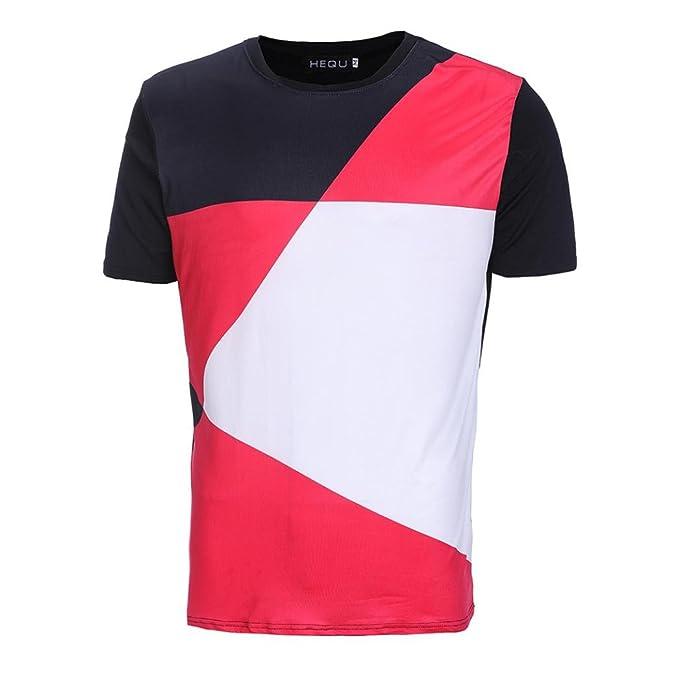ALIKEEY Camiseta Casual De La Manga Corta Camiseta del Color Remiendo Moda Verano Los Hombres Ocasionales