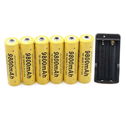 6 Pack 18650 3.7V 9800mAh Batteries Rechargeable Li-ion Battery and Universal Charger