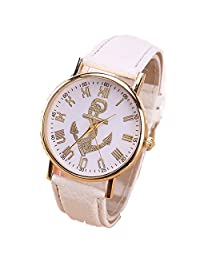 Cokoo Cute Women Analog Quartz Gold Dial Wrist Watch with White Band