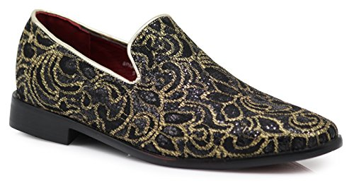Enzo Romeo SPK05 Men's Vintage Satin Silky Floral Print Embroidery Dress Loafers Slip On Shoes Classic Tuxedo Dress Shoes (9.5 D(M) US, Black) (Dress Satin Silky)