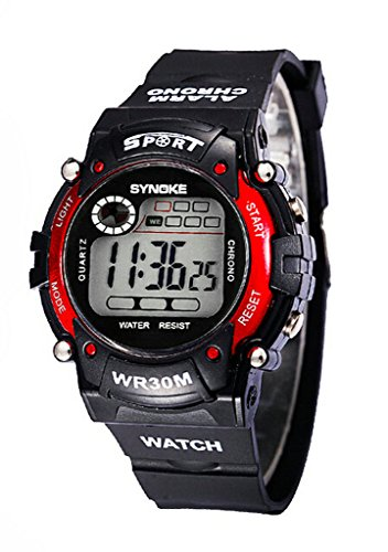 Boy's Multi Function Resistant Waterproof Digital LED Quartz Cool Sport Watch Red by YJLHCYGG