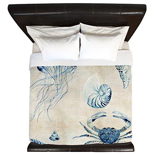 (CafePress Indigo Ocean Sketchbook Jellyfish Crab King Duvet Cover, Printed Comforter Cover, Unique Bedding, Microfiber)
