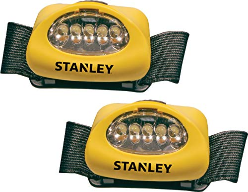 - STANLEY HL2PKS Hands Free LED Headlamp Flashlight with Adjustable Headband, Alkaline Battery Powered, 2 Pack