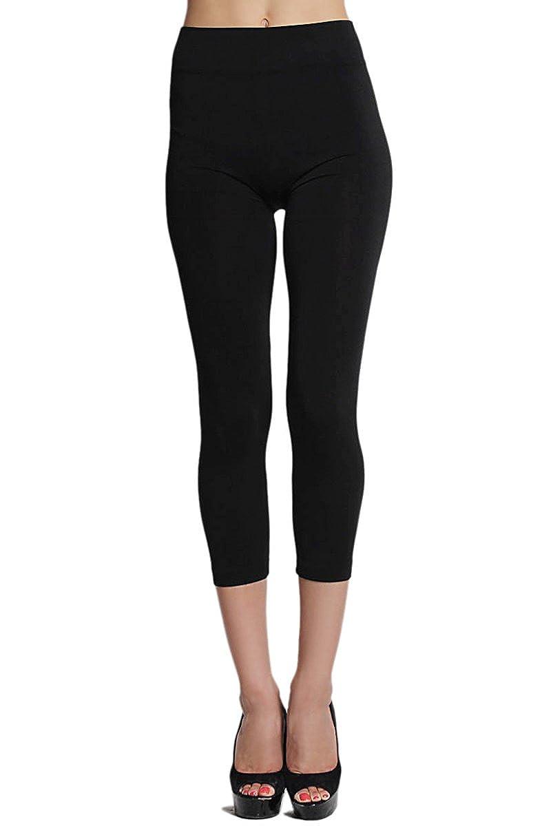 TheMogan Women'S Basic Plain Stretch Crop Capri Leggings 27_BLK_OSZ