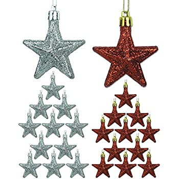 """Mini Ornaments - Set of 24 Red and Silver Glittery Star Ornaments - 2 1/2"""" H - Miniature Christmas Ornaments"""