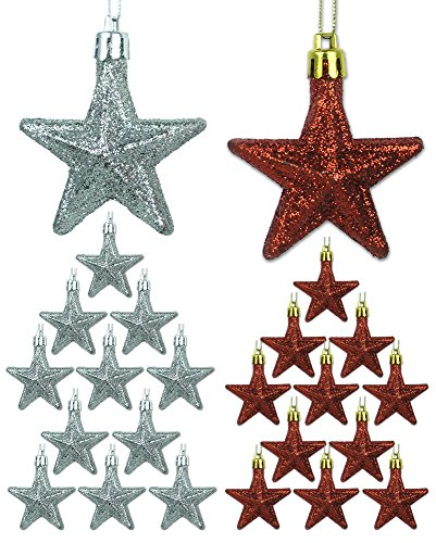 Mini Ornaments - Set of 24 Red and Silver Glittery Star Ornaments - 2 1/2