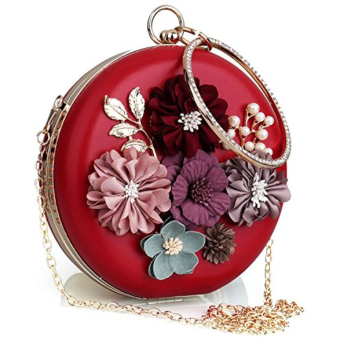 Handbag Women's Pearl Satin Clutch Evening Evening Flower Beaded White 6nxOz0rnAw