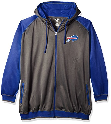 - NFL Buffalo Bills Men FULL ZIP POLY FLEECE RAGLAN, CHAR/ROYAL, 4X