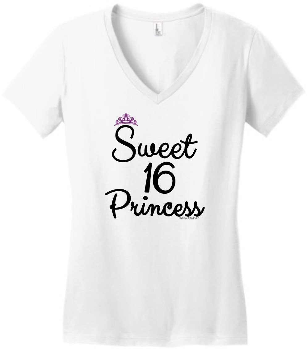 3d47ebfe2 Galleon - 16th Birthday Gifts For All Sweet 16 Princess Tiara Juniors Vneck