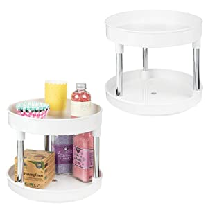"""mDesign 2 Tier Lazy Susan Turntable Food Storage Container for Cabinets, Pantry, Fridge, Countertops - Spinning Organizer for Spices, Condiments - 9"""" Round, 2 Pack - White/Chrome"""