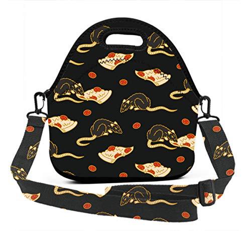 Premium Neoprene Pizza Rat Lunch Bag women Handbag Insulated Interior WaterproofCarry Case for Meal Prep, Reusable Container - Moisture -