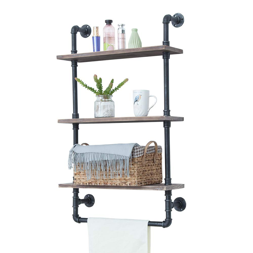 Industrial Bathroom Shelves Wall Mounted 3 Tiered,Rustic 24in Pipe Shelving Wood Shelf With Towel Bar,Black Farmhouse Towel Rack,Metal Floating Shelves Towel Holder,Iron Distressed Shelf Over Toilet