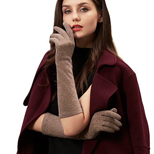 GSG Womens Stylish Wool Gloves Arm Warmers Gloves Mittens Touchscreen Lady Costume Party Wedding Dress Accessory (Lt Brown)