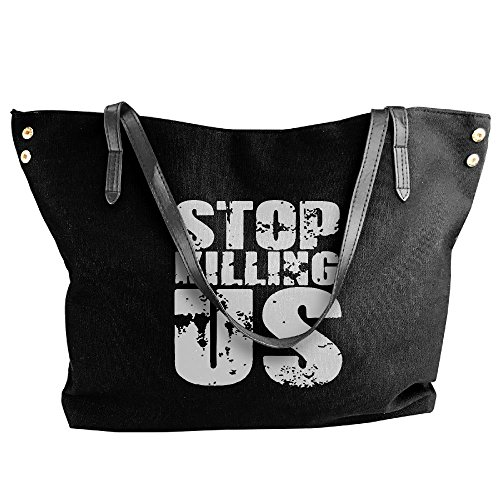 Black Women's US Tote Large Stop Hobo Bag Canvas Tote Messenger Handbag Killing Shoulder fOfq7rxw
