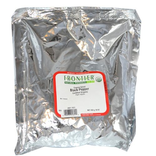 Frontier Bulk Pepper, Black Coarse Grind, ORGANIC, 1 lb. package