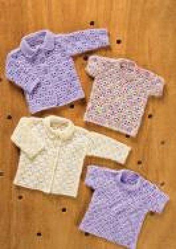 King Cole Baby Cardigan & Sweater 4 Ply & DK Crochet Pattern 3053