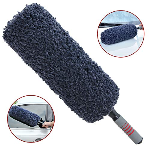 TAKAVU Car Duster Exterior, Multi-Functional Ultra Soft Microfiber Duster with Sturdy Storage Bag, Long Unbreakable Extendable Handle, Exterior or Interior Use, Lint Free, Best Car Accessories ()