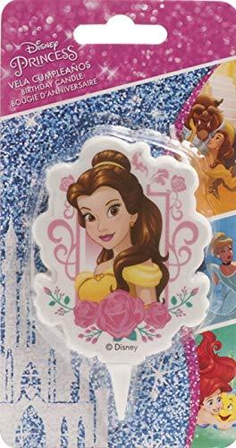 color amarillo Dekora Vela de Cumplea/ños 2D Bella Disney 346002