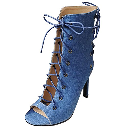 Women up Lace Gladiator TAOFFEN Blue Fashion Shoes d74qdcBg